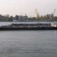 Ruse Bulgaria,barges on the Danube