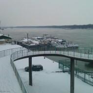 Ruse Bulgaria,Bridge at a wharf in the winter