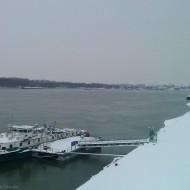Ruse Bulgaria,ship at a wharf in the winter