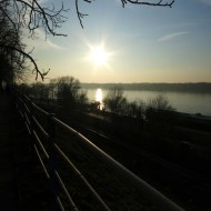 Ruse Bulgaria,sunset on the Danube river