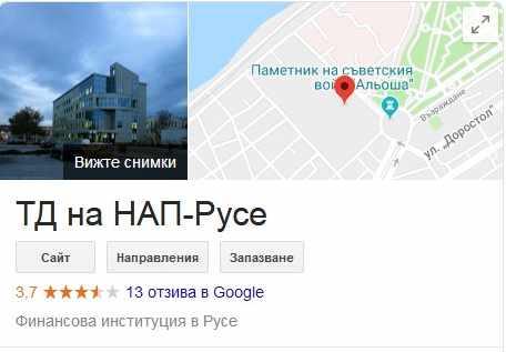 Google Карти,НАП-Русе